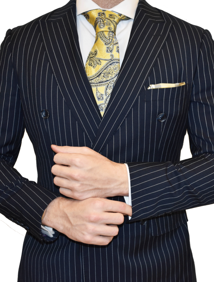 Premium Navy Pinstripe Suit Double Breasted Mr Custom Made
