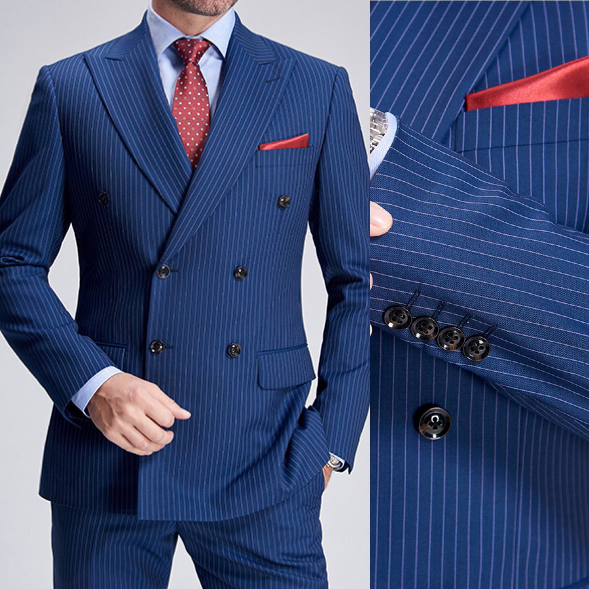 Royal Blue Pinstripe Suit , Italian Collection